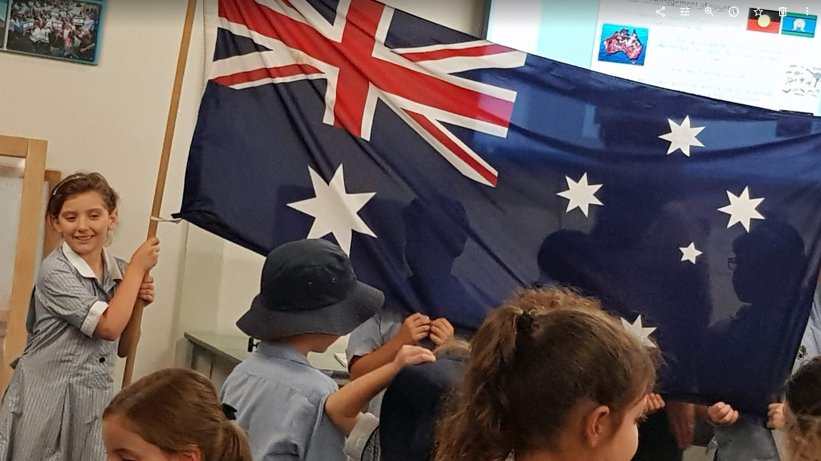 My daughter holding up the Australian