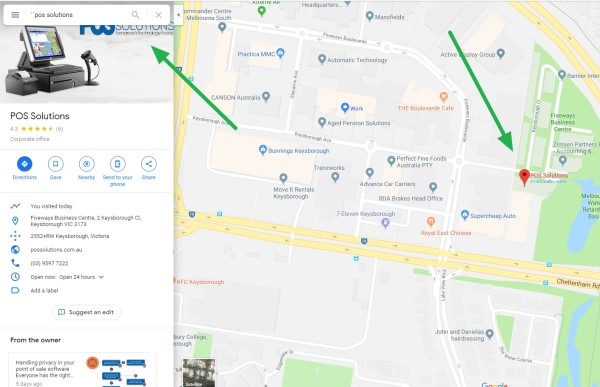Google map of POS Solutions