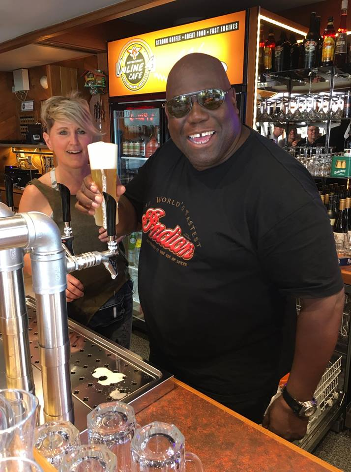 Carl Cox having a beer