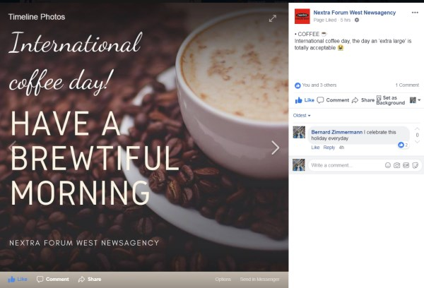 International coffee day from Nextra