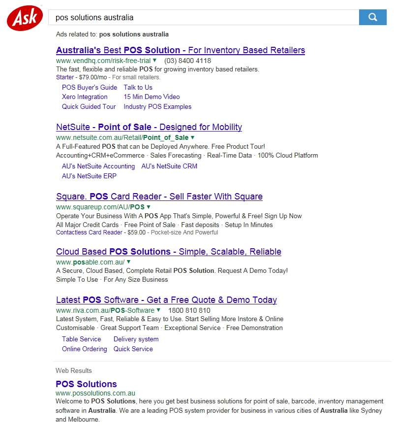 Searches for POS Solutions Australia by Ask
