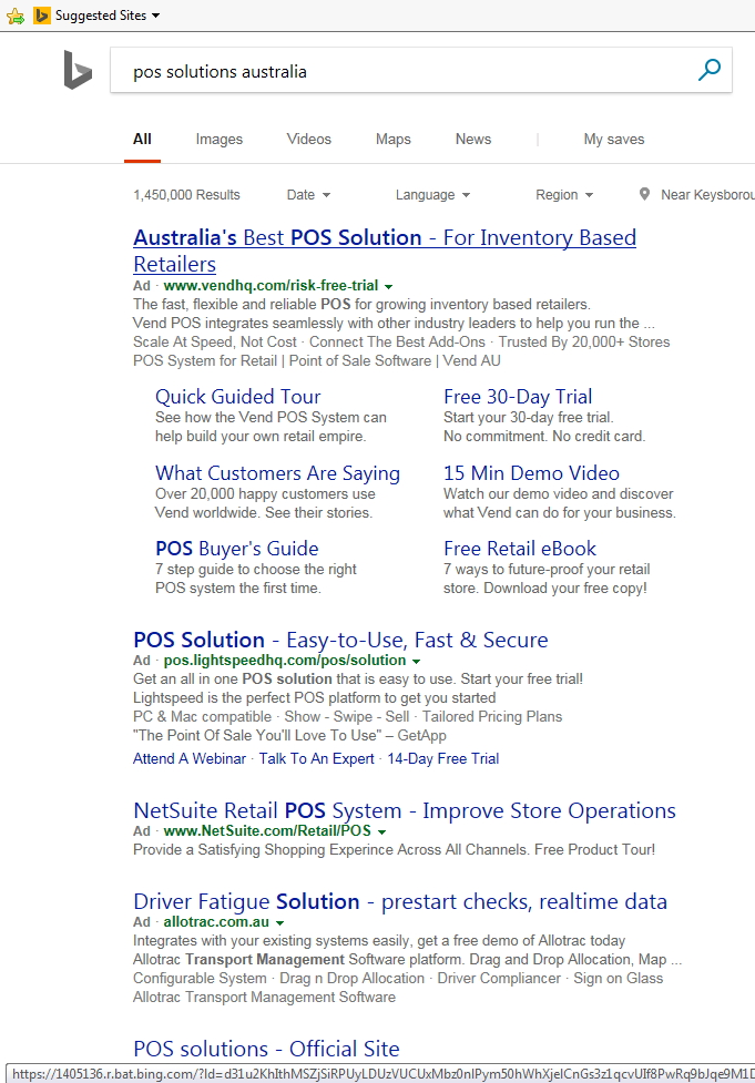 Searches for POS Solutions Australia by Bing
