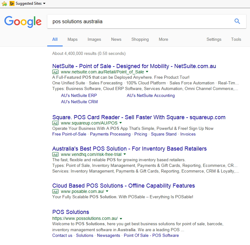 Searches for POS Solutions Australia by google
