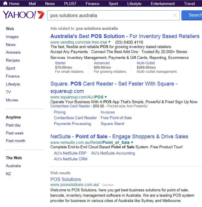 Searches for POS Solutions Australia by yahoo